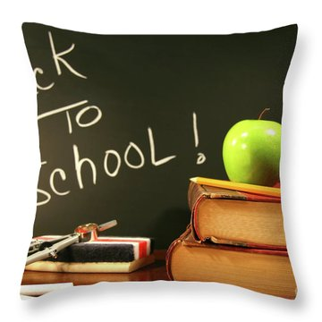 School Books With Apple On Desk Throw Pillow
