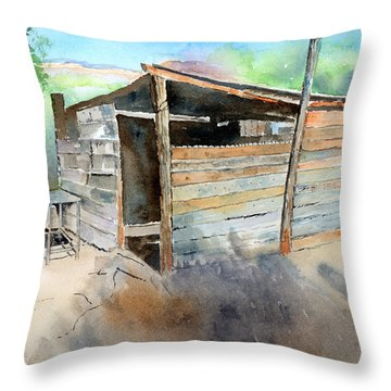 Throw Pillow featuring the painting School Cooking Shack - South Africa by Arline Wagner
