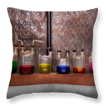 Science - Chemist - Glassware For Couples Throw Pillow by Mike Savad