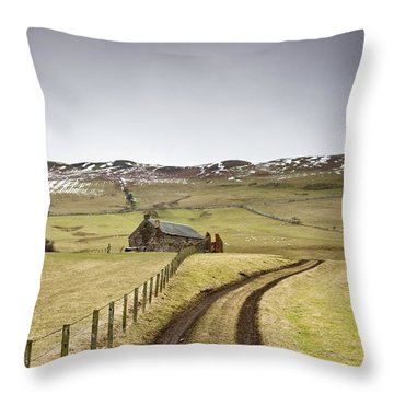 Scottish Borders, Scotland Tire Tracks Throw Pillow by John Short