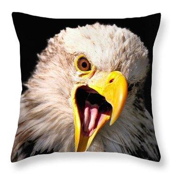 Screaming Eagle II Black Throw Pillow