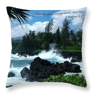 Scripture And Picture Matthew 8 27 Throw Pillow by Ken Smith