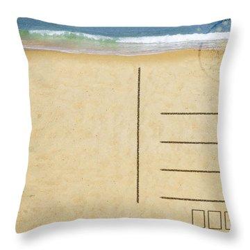 Sea Beach On Postcard  Throw Pillow by Setsiri Silapasuwanchai