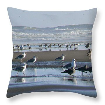 Sea Gulls And Breakers Throw Pillow