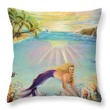 Sea Mermaid Goddess Throw Pillow
