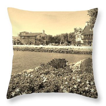 Throw Pillow featuring the photograph Sea Port Village Retro View by Jasna Gopic