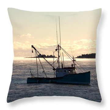 Sea-smoke On The Harbor Throw Pillow by Brent L Ander
