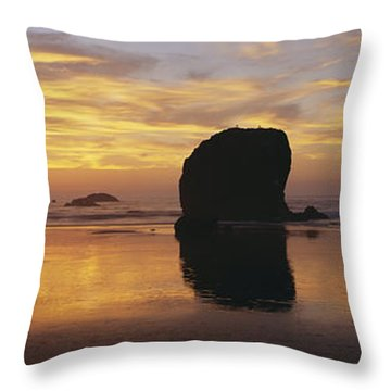 Sea Stacks Throw Pillow by Chromosohm Media Inc and Photo Researchers