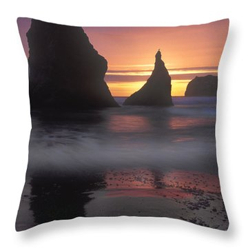 Sea Stacks Off The Oregon Coast Throw Pillow by Dave Mills