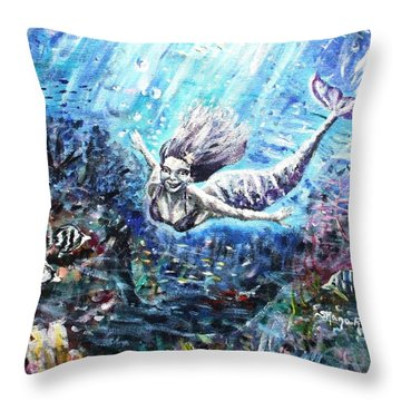 Throw Pillow featuring the painting Sea Surrender by Shana Rowe Jackson