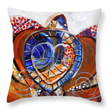 Sea Turtle Love - Orange And White Throw Pillow