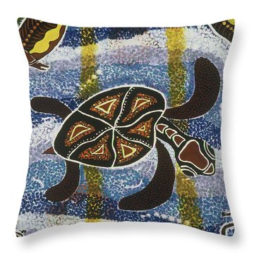 Sea Turtle Throw Pillow by Pat Saunders-White