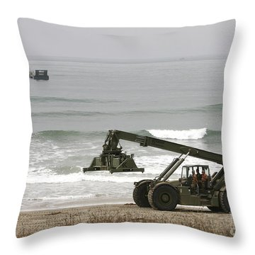 Seabee Loader And Powered Causeway Throw Pillow by Michael Wood