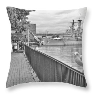 Throw Pillow featuring the photograph Seagull At The Naval And Military Park by Michael Frank Jr