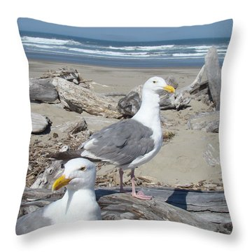 Seagull Bird Art Prints Coastal Beach Bandon Throw Pillow by Baslee Troutman