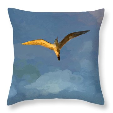 Seagull Sunrise Throw Pillow by Miguel Pumarejo