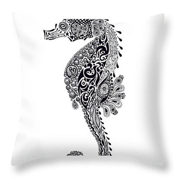Seahorse Throw Pillow by Jacqueline Eden