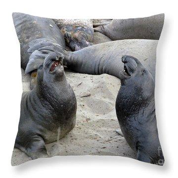 Seal Spa. Men's Talk2 Throw Pillow by Ausra Huntington nee Paulauskaite
