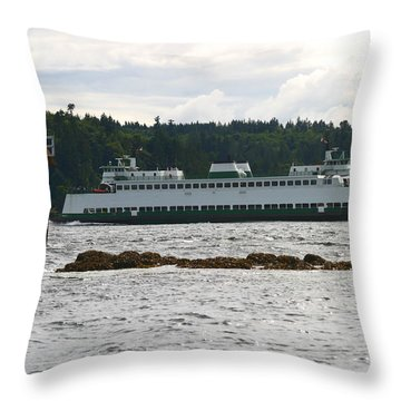 Sealth Ferryboat Rich Passage Throw Pillow by Kym Backland