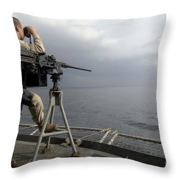 Seaman Scans The Ocean Throw Pillow