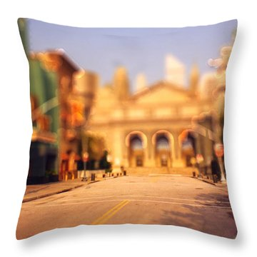 Throw Pillow featuring the photograph Seaport Tiltshift by EricaMaxine  Price