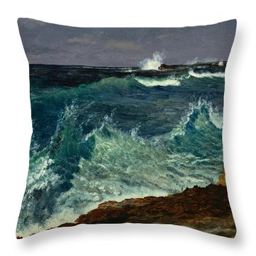 Seascape Throw Pillow by Albert Bierstadt