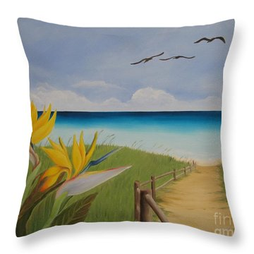 Throw Pillow featuring the painting Seascape by Jindra Noewi