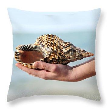 Seashell In Hand Throw Pillow by Elena Elisseeva