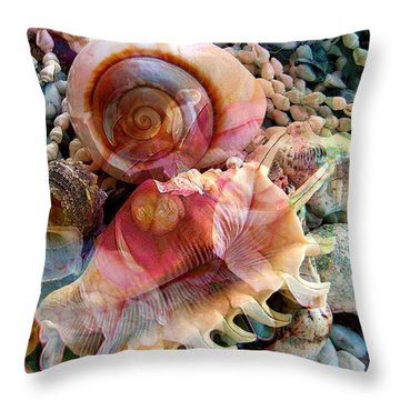 Seashell Reflections Throw Pillow by Shirley Sirois