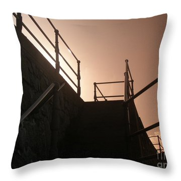 Throw Pillow featuring the photograph Seaside Railings by Terri Waters