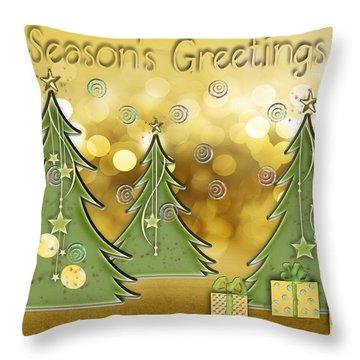 Season's Greetings Throw Pillow by Arline Wagner
