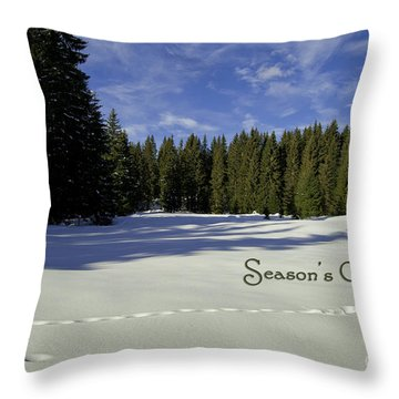 Season's Greetings Austria Europe Throw Pillow by Sabine Jacobs