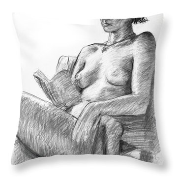 Seated Nude Reading Figure Drawing Throw Pillow by Adam Long