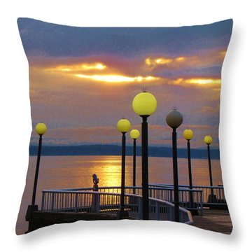 Seattle Sunburst Throw Pillow by Feva  Fotos