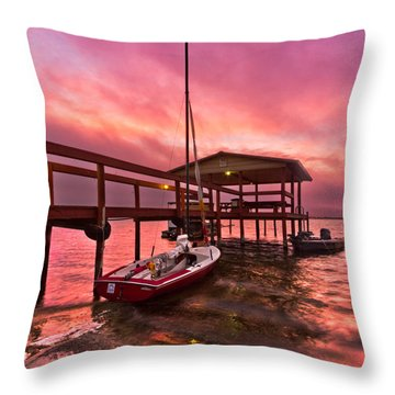 Sebring Sailing Throw Pillow by Debra and Dave Vanderlaan