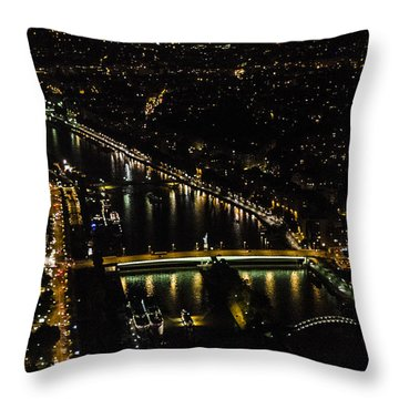 Throw Pillow featuring the photograph Seine River Atop The Eiffel Tower by Marta Cavazos-Hernandez