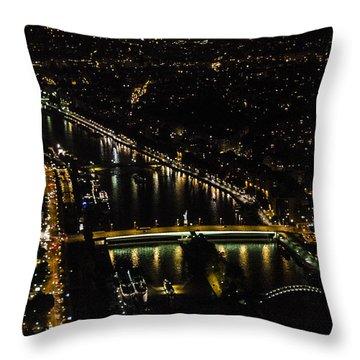 Seine River Atop The Eiffel Tower Throw Pillow