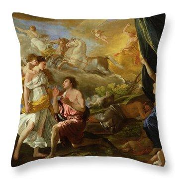 Selene And Endymion Throw Pillow by Nicolas Poussin