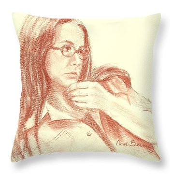 Throw Pillow featuring the painting Self Portrait Then by Carol Berning