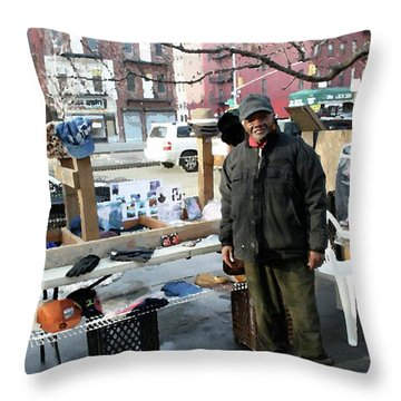 Selling My Wares Throw Pillow by Terry Wallace