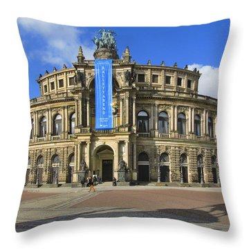 Semper Opera House - Semperoper Dresden Throw Pillow by Christine Till