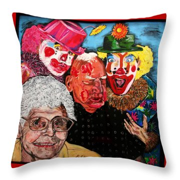 Send In The Clowns Throw Pillow by Karen Elzinga