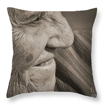 Senior Smile Throw Pillow by Lin Haring