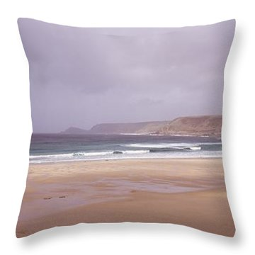 Sennen Cove Beach At Sunset Throw Pillow by Axiom Photographic