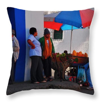 Senor Papaya Throw Pillow by Skip Hunt