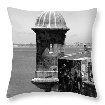 Sentry Tower Castillo San Felipe Del Morro Fortress San Juan Puerto Rico Black And White Throw Pillow by Shawn O'Brien