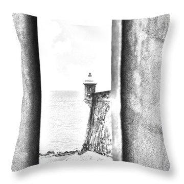 Sentry Tower View Castillo San Felipe Del Morro San Juan Puerto Rico Black And White Line Art Throw Pillow by Shawn O'Brien