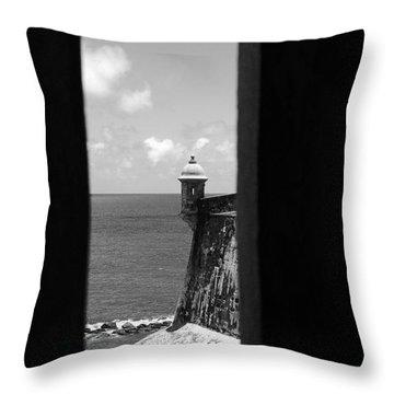Sentry Tower View Castillo San Felipe Del Morro San Juan Puerto Rico Black And White Throw Pillow by Shawn O'Brien