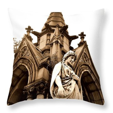 Sepia - Forrest Lawn Cemetery - Buffalo New York Throw Pillow