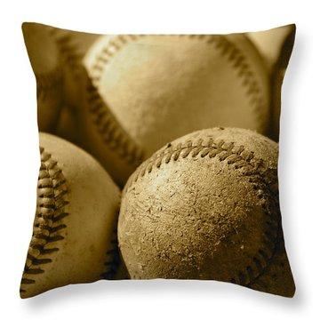 Sepia Baseballs Throw Pillow by Bill Owen